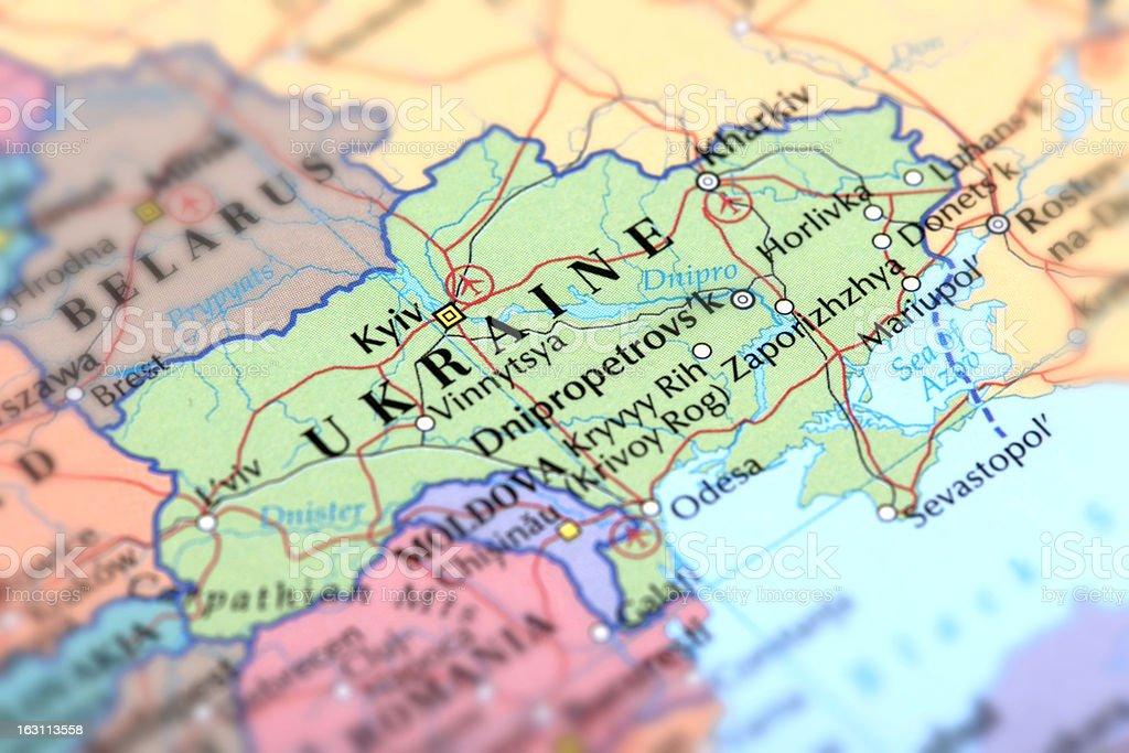 Map of green Ukraine on a globe stock photo