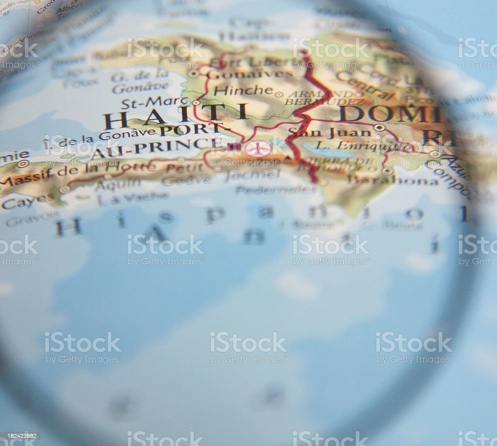 Map of Haiti magnified and focused on Port-Au-Prince royalty-free stock photo
