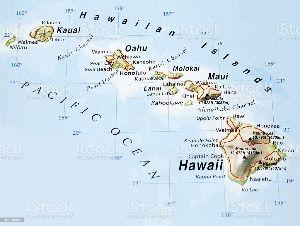 Map of Hawaiian Islands royalty-free stock photo