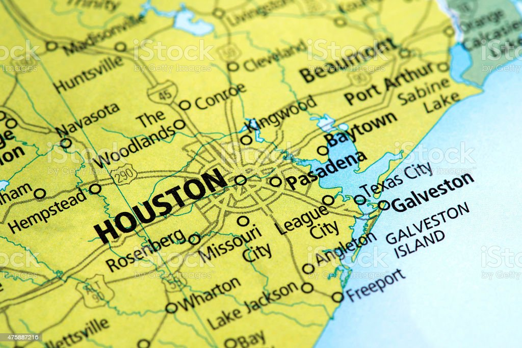 Map of Houston, Texas State in USA stock photo