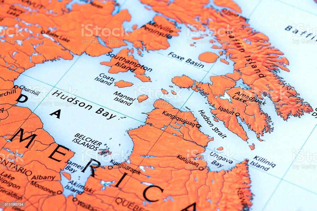 Map of Hudson Bay, Canada stock photo