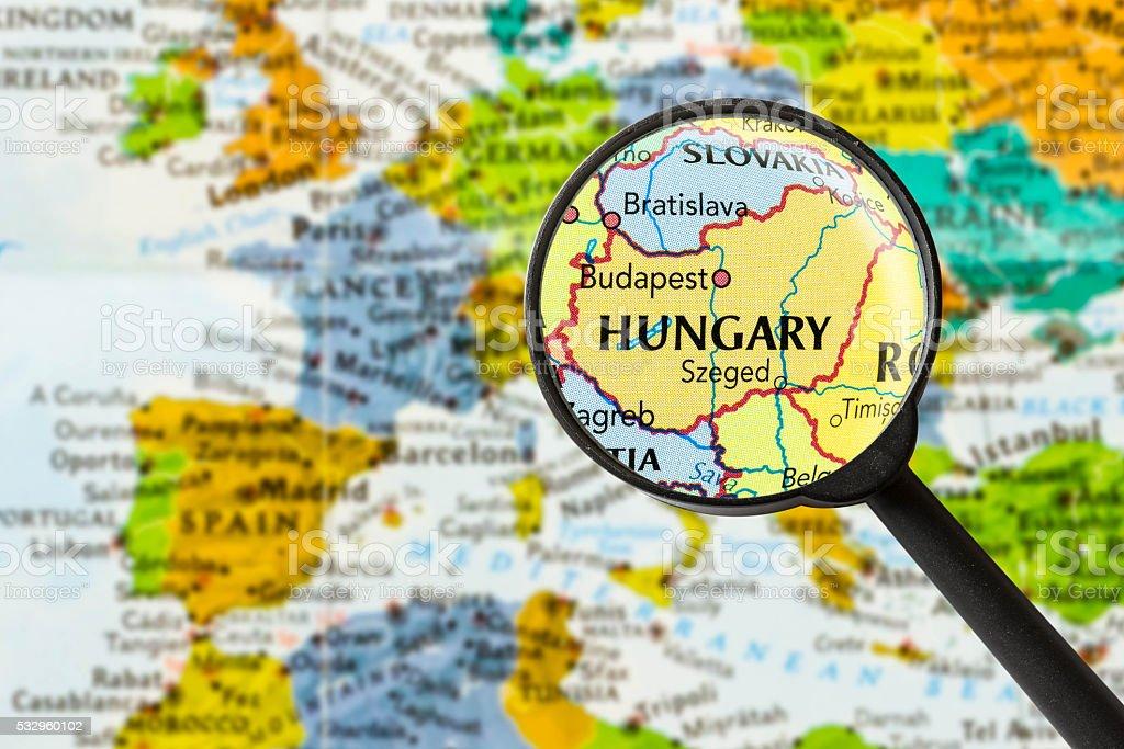 Map of Hungary stock photo