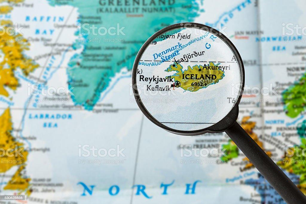Map of Iceland stock photo