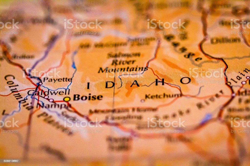 Map of Idaho stock photo