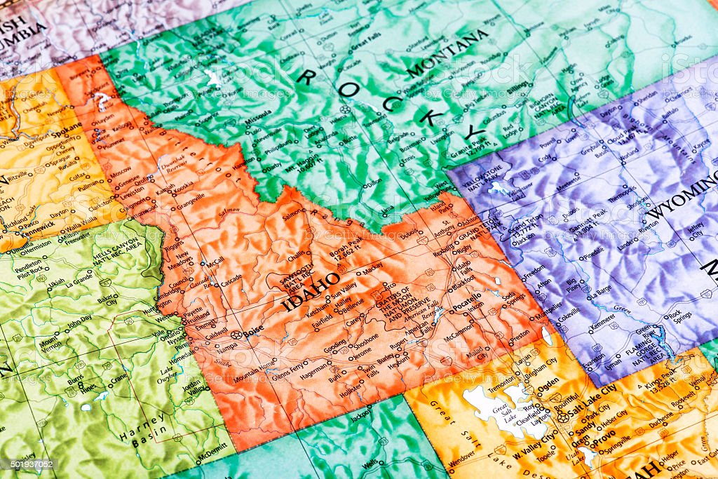 Map of Idaho State in USA stock photo
