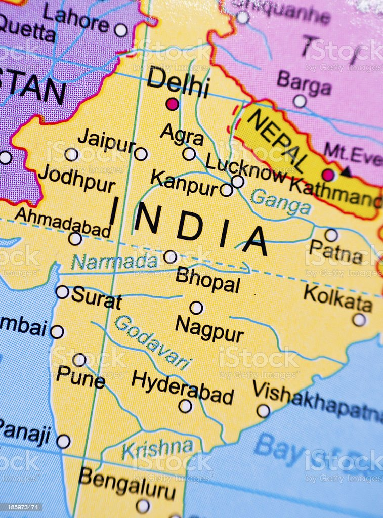 Map of India stock photo