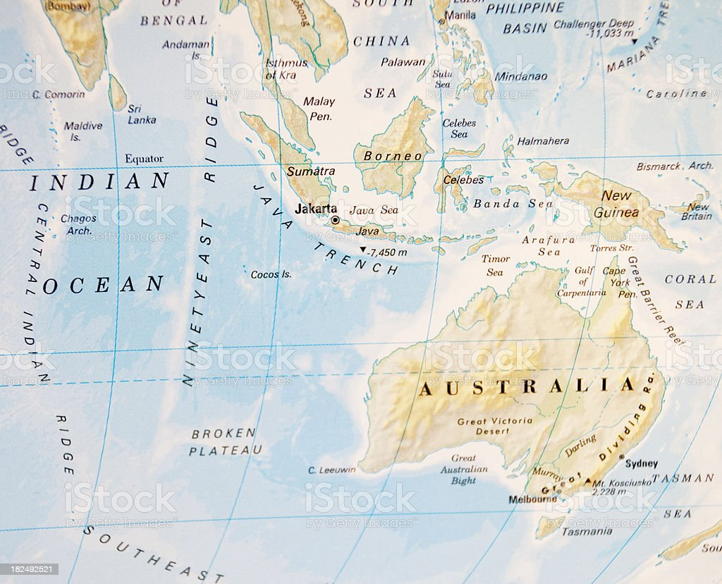 map of indian ocean stock photo