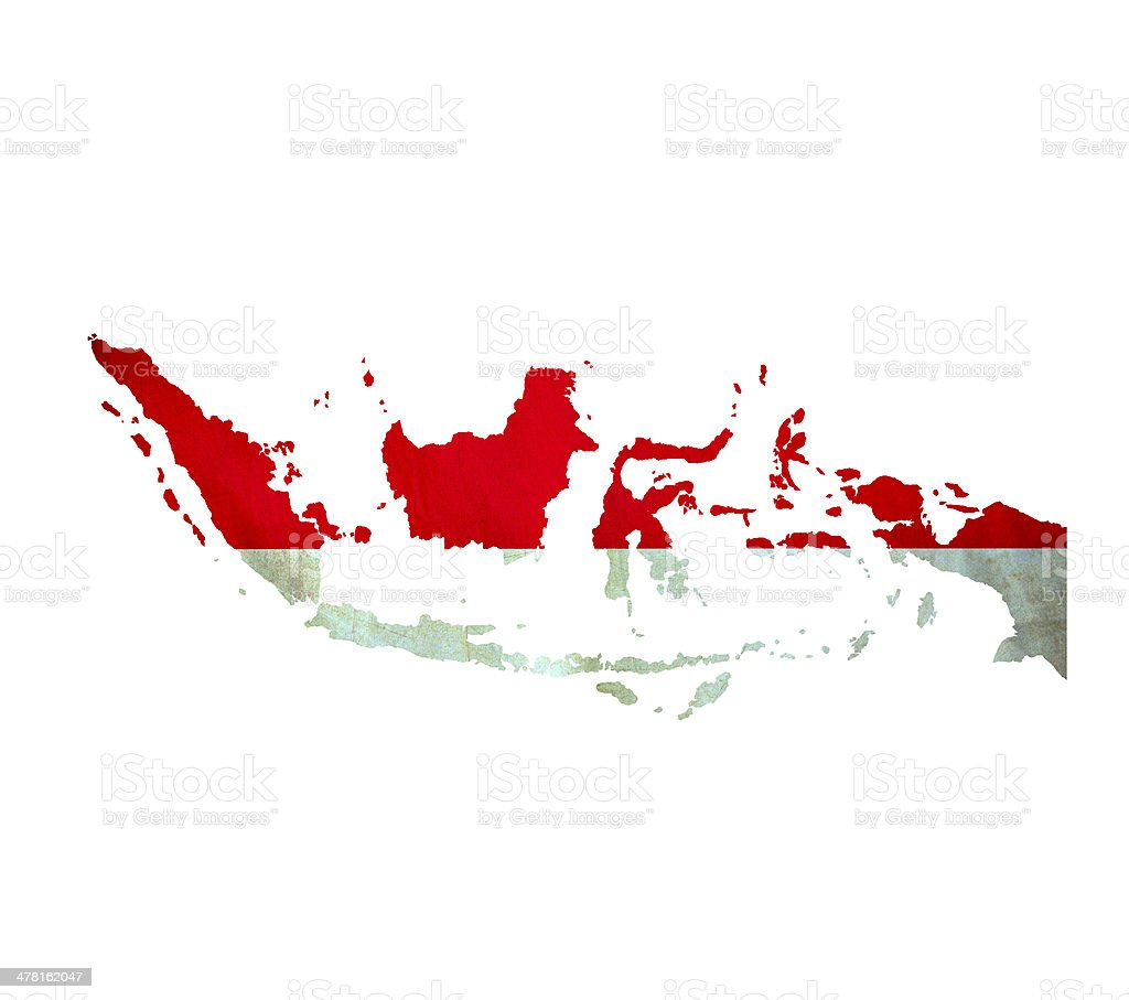 Map of Indonesia isolated stock photo