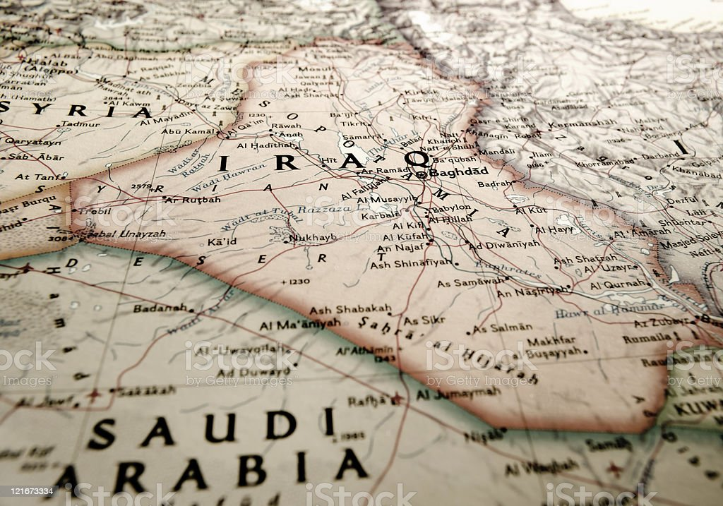 Map of Iraq and its surroundings stock photo