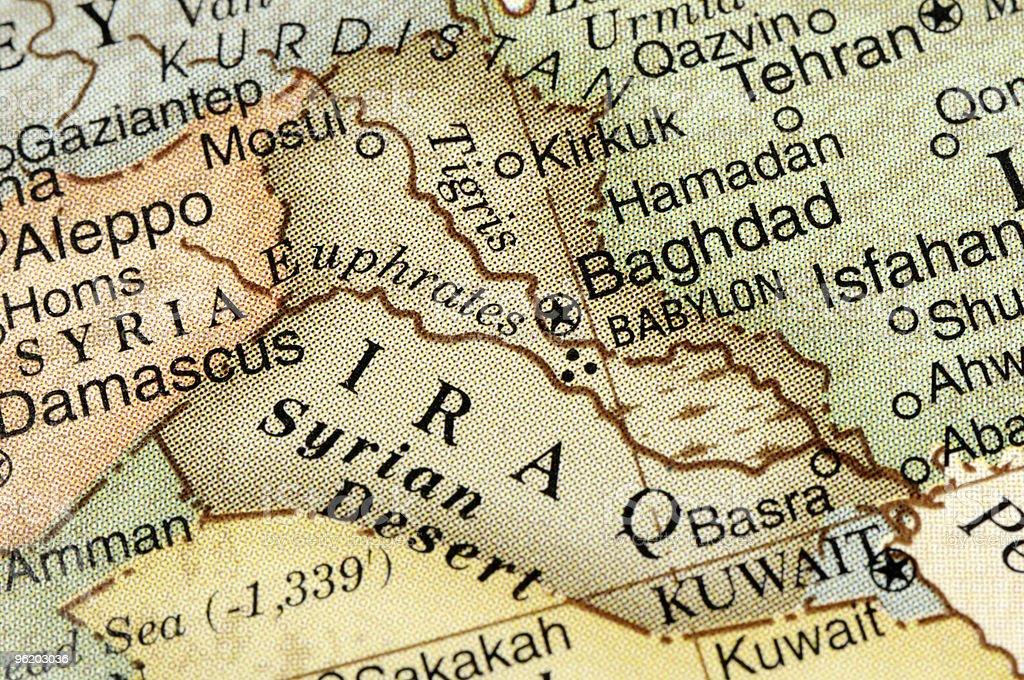 Map of IRAQ and surrounding neighbors stock photo