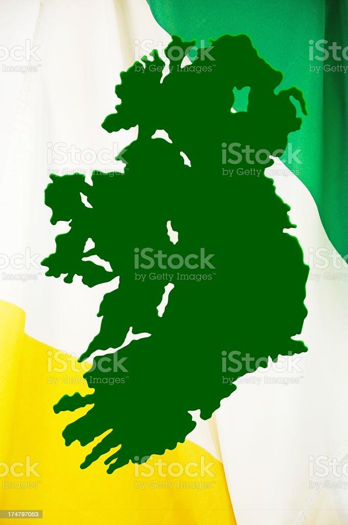 Map of Ireland... Flag Background royalty-free stock photo
