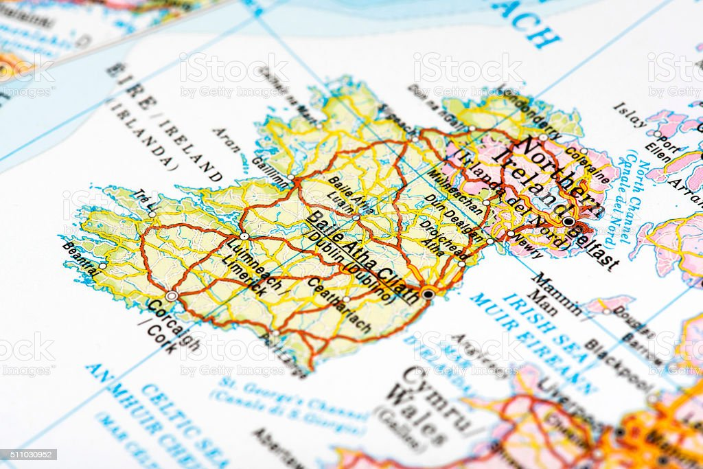 Map of Ireland stock photo