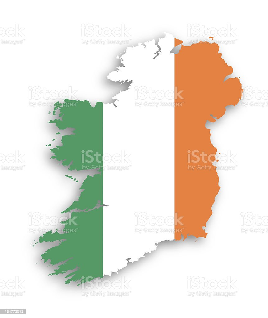 Map of Ireland with flag inside stock photo