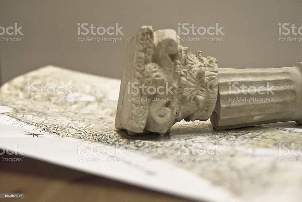 Map of Israel with Archaeological Finding stock photo