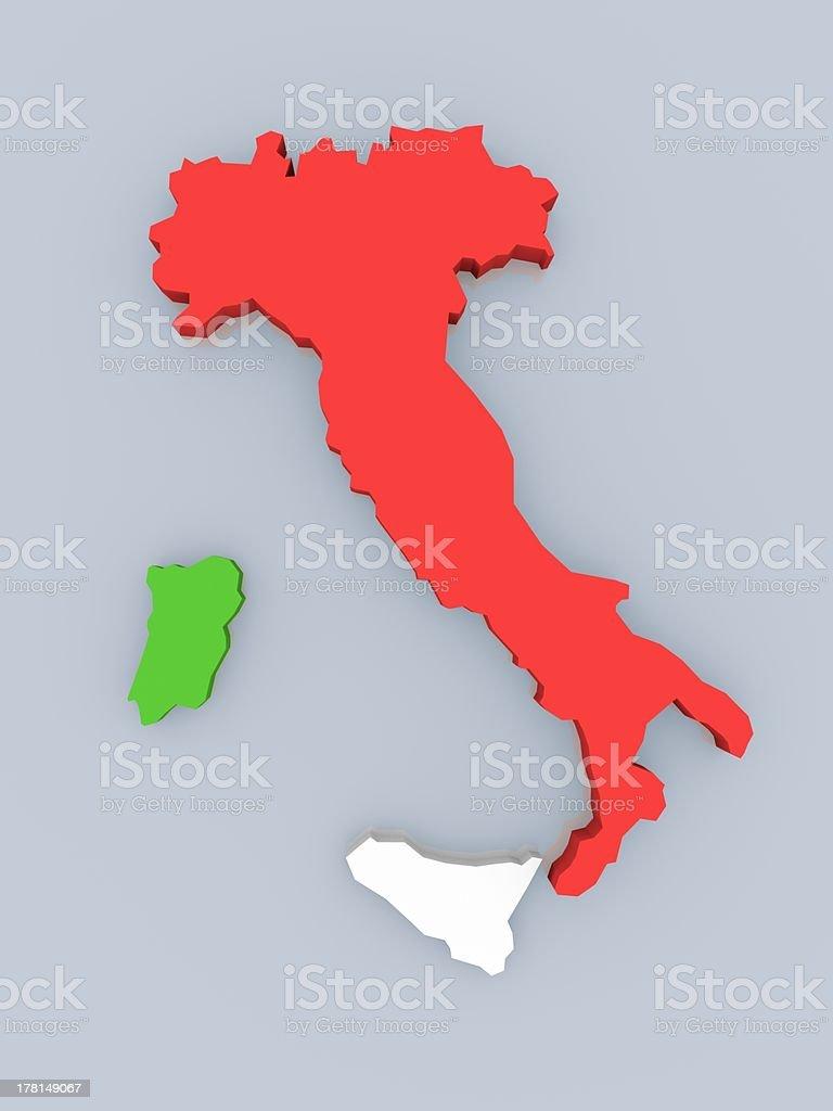 Map of Italy royalty-free stock photo