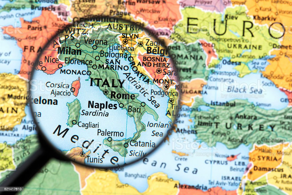 Map of Italy stock photo