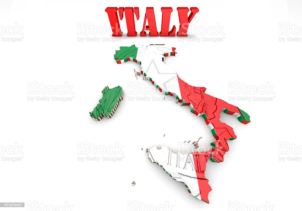 Map of Italy with flag vector art illustration