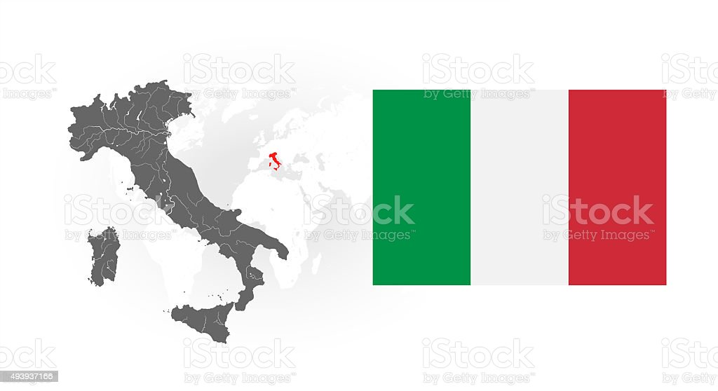 Map of Italy with rivers and National flag of Italy. stock photo