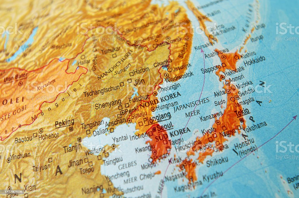 Map of Japan and Korea stock photo