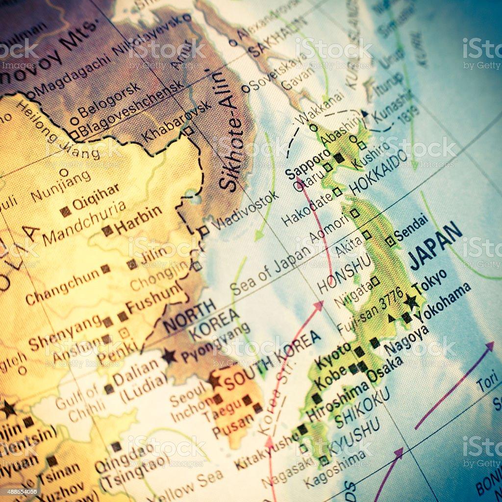 map of Japan. Close-up image stock photo