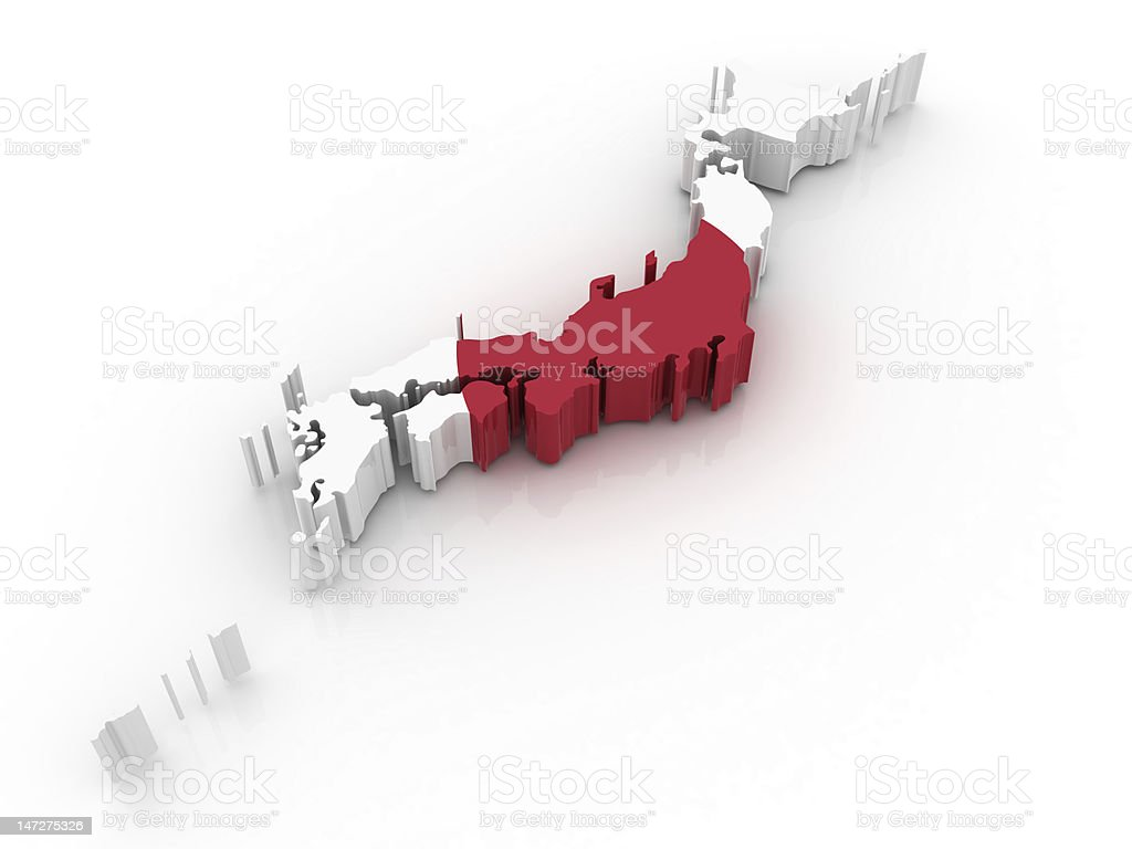 Map of Japan in pixels in red and white stock photo