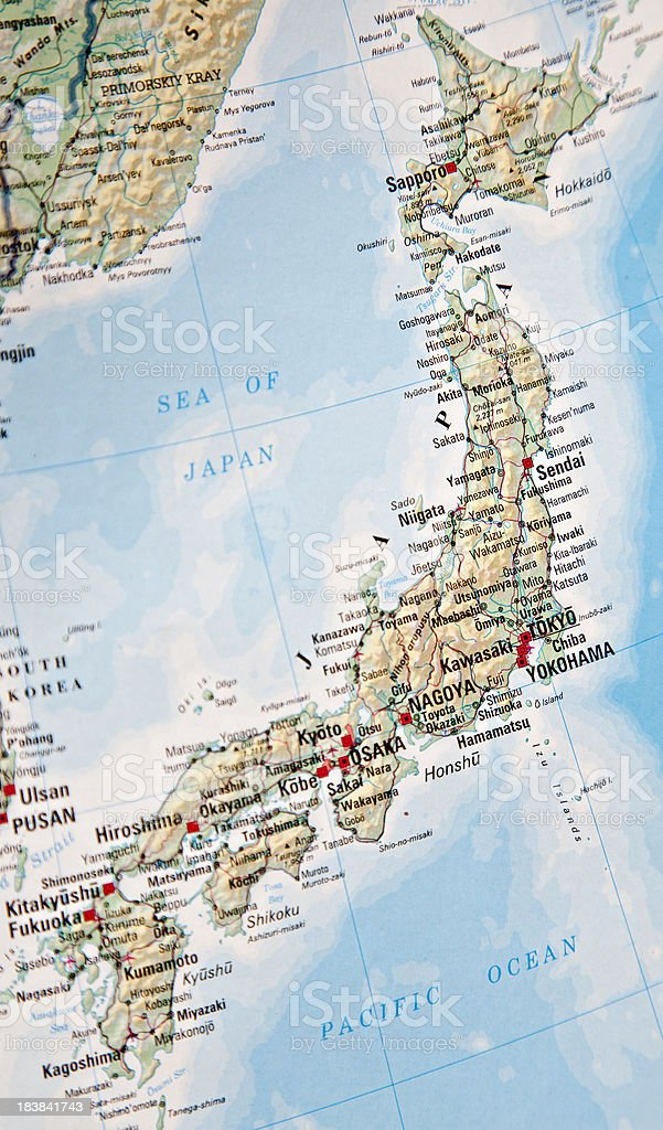 Map of Japan stock photo