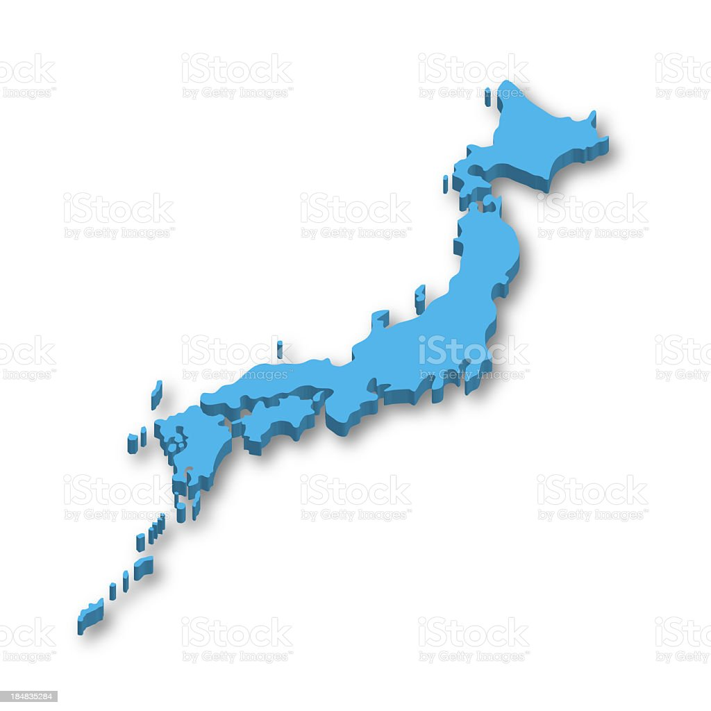 3D map of Japan stock photo