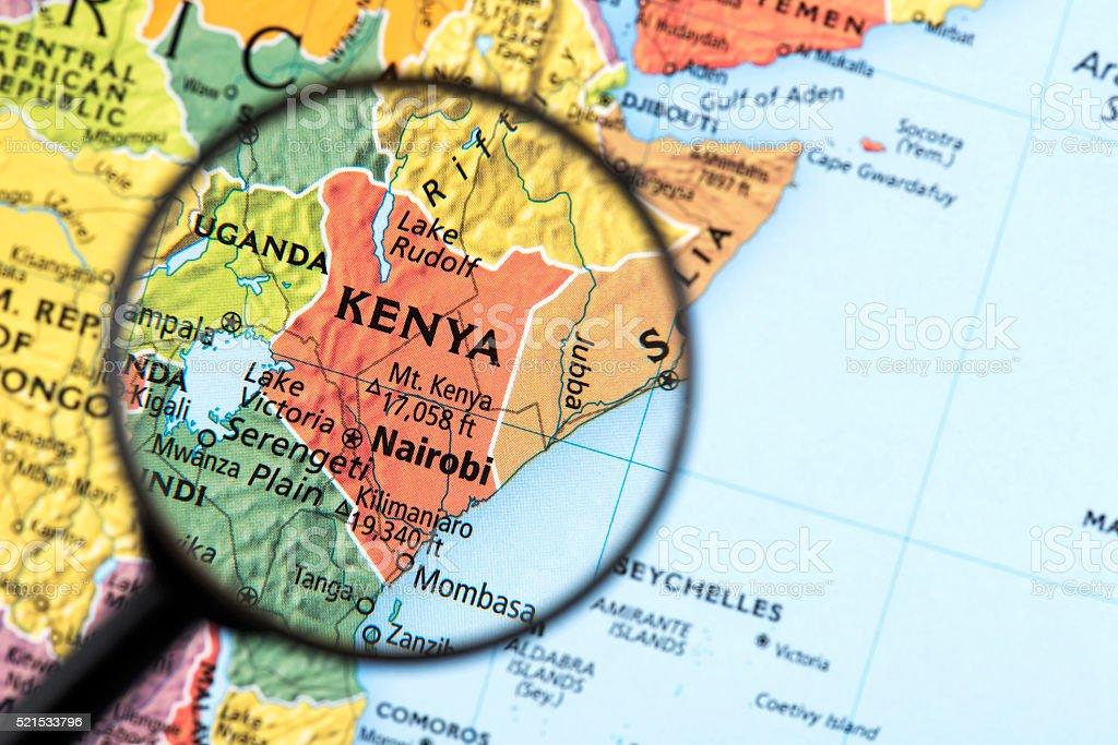Map of Kenya stock photo