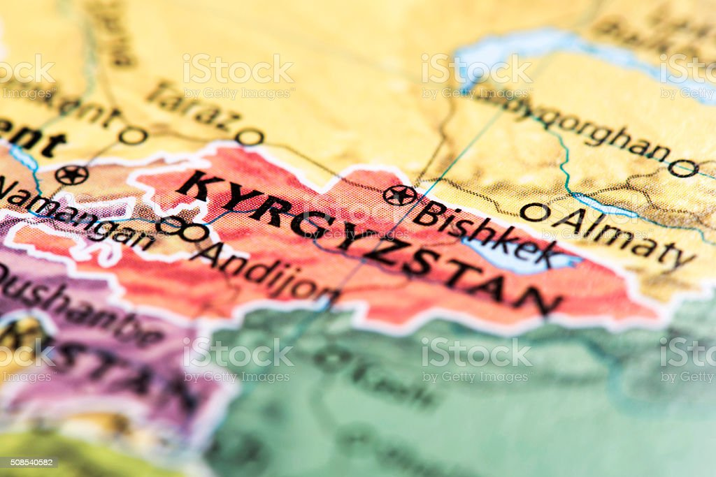 Map of Kyrgyzstan stock photo
