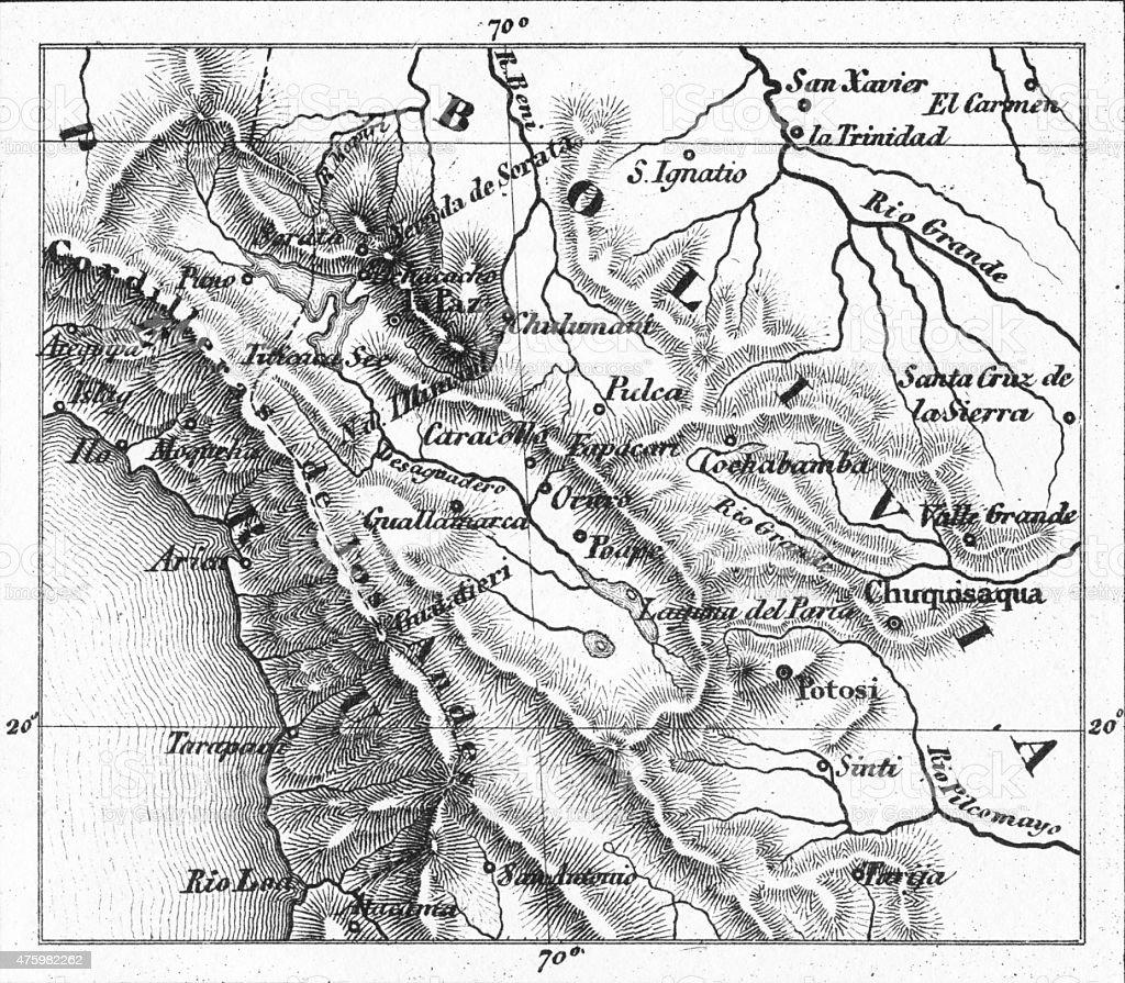 Map of Lake Titicaca, Peru Engraving stock photo