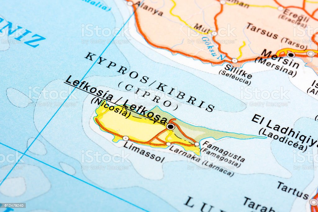 Map of Lefkosia, Cyprus stock photo
