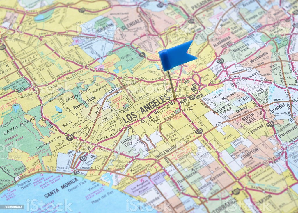 Map of Los Angeles royalty-free stock photo