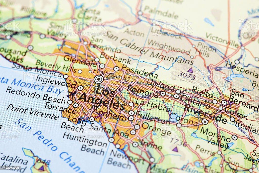 Map of Los Angles royalty-free stock photo