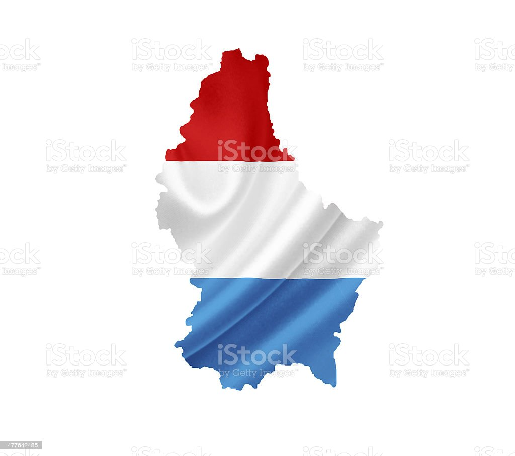 Map of Luxembourg with waving flag isolated on white royalty-free stock photo