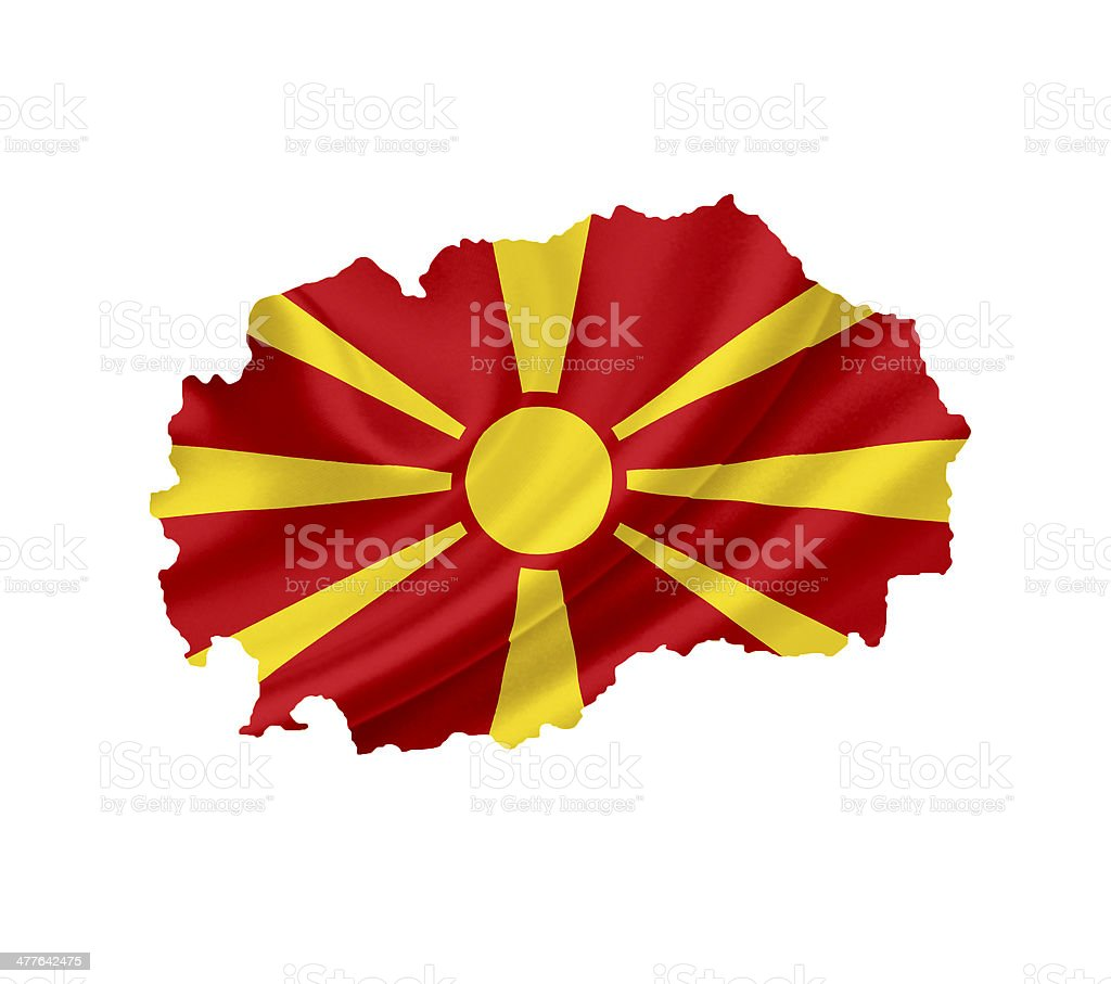 Map of Macedonia with waving flag isolated on white royalty-free stock photo