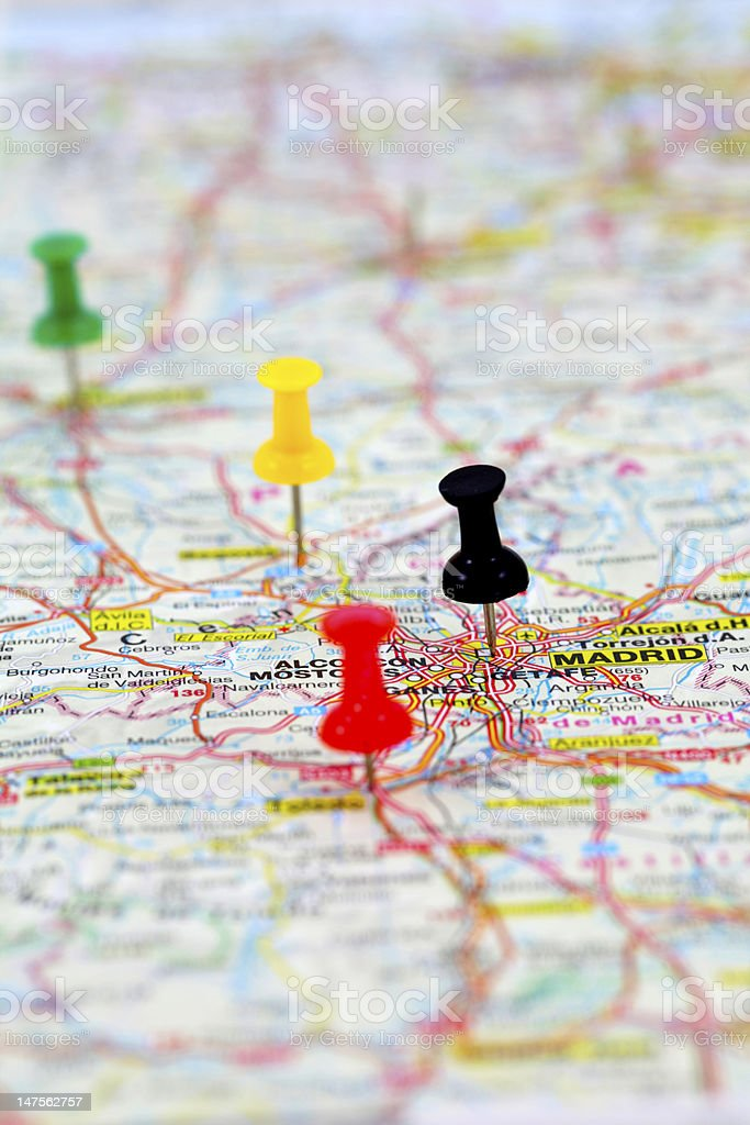 Map of Madrid in Spain with pushpins stock photo