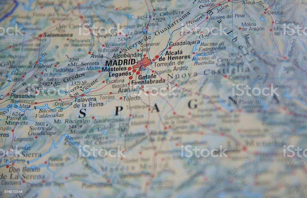 Map of Madrid stock photo