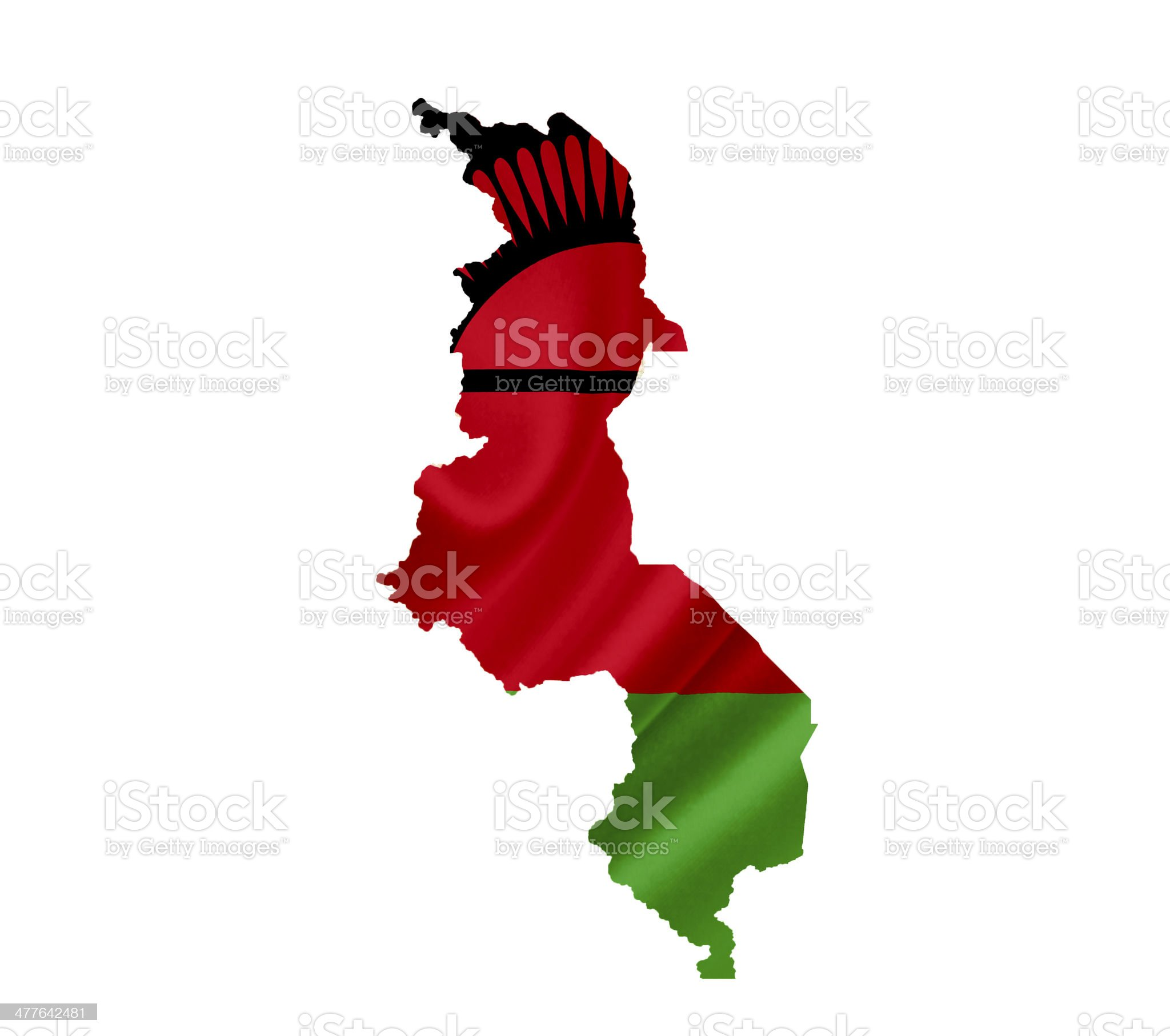 Map of Malawi with waving flag isolated on white royalty-free stock photo
