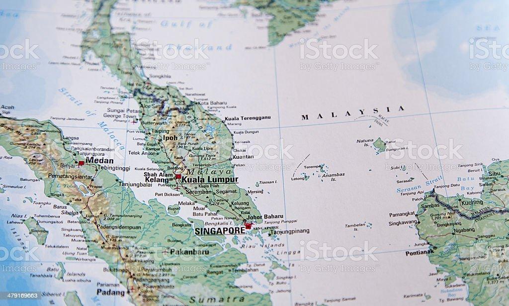 Map of Malaysia area stock photo