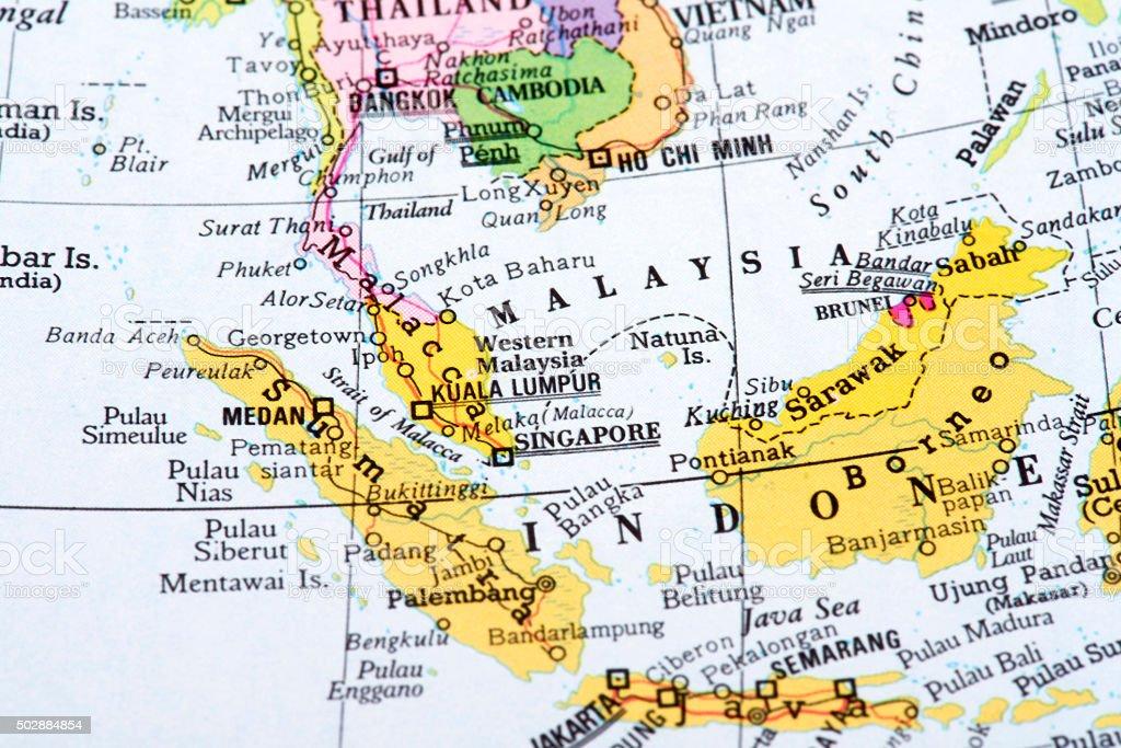 Map of Malaysia, Sumatra, Borneo stock photo