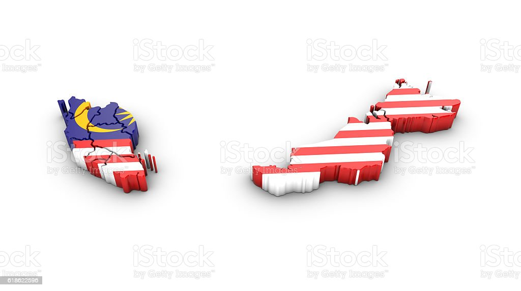 Map of Malaysia with flag on a white background. stock photo