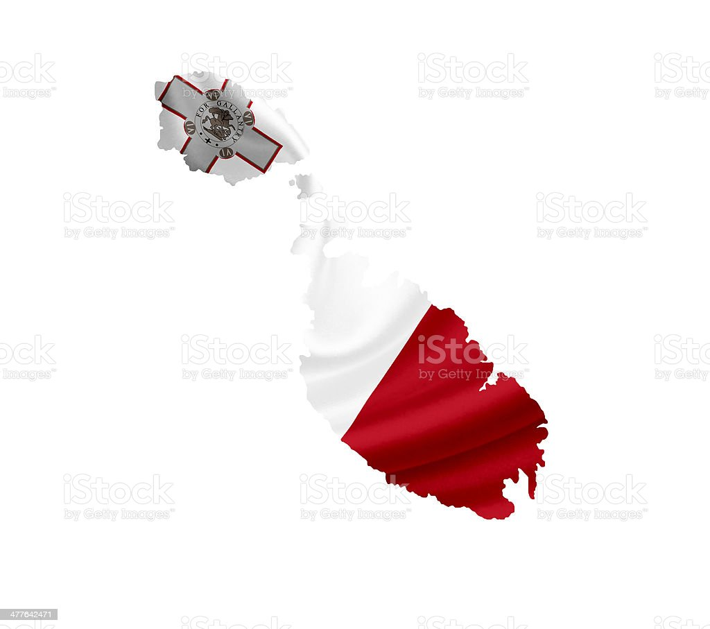 Map of Malta with waving flag isolated on white royalty-free stock photo