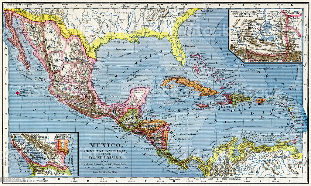 Map Of Mexico And Central America 1883 stock photo