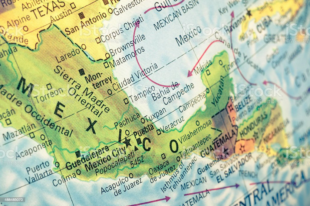 map of Mexico close-up image stock photo
