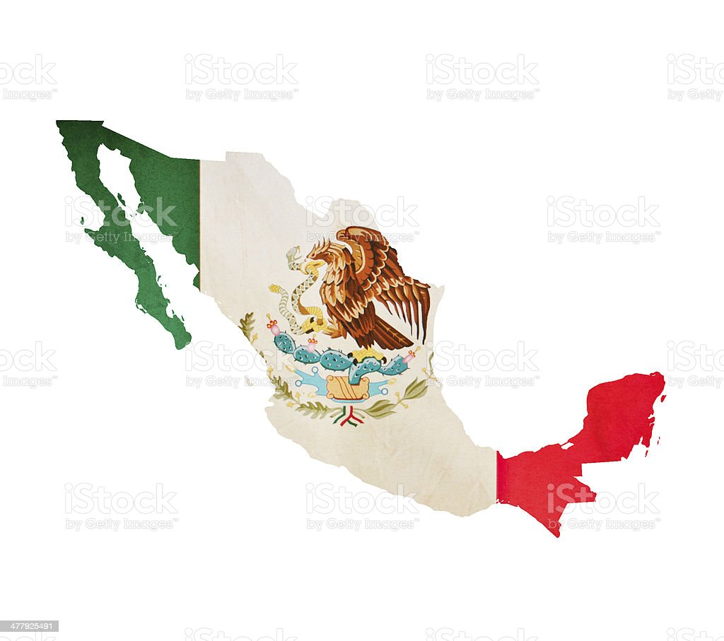 Map of Mexico isolated stock photo