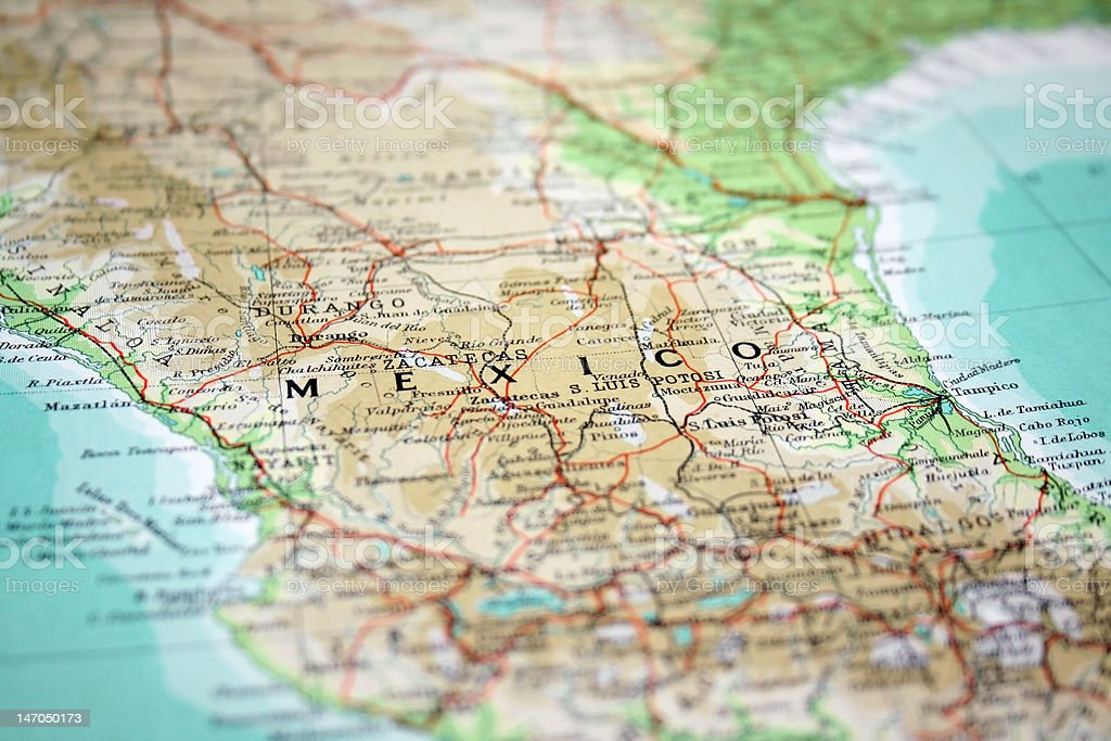 Map of Mexico stock photo