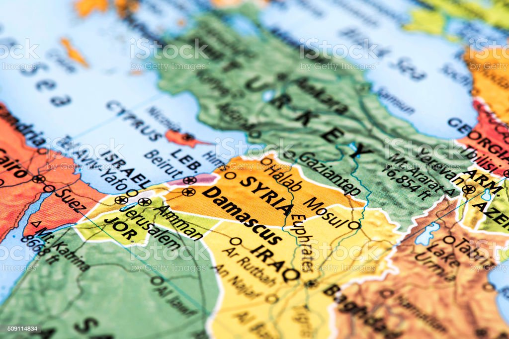 Map of Middle East Countries stock photo