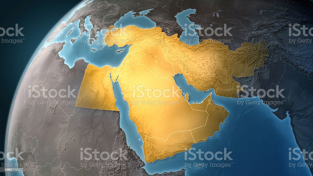 Map of Middle East: highlighted countries, looking west stock photo