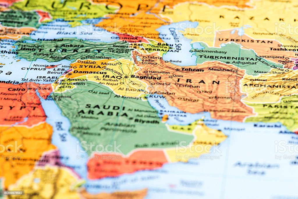 Map of Middle-Eastern and Asian Countries stock photo