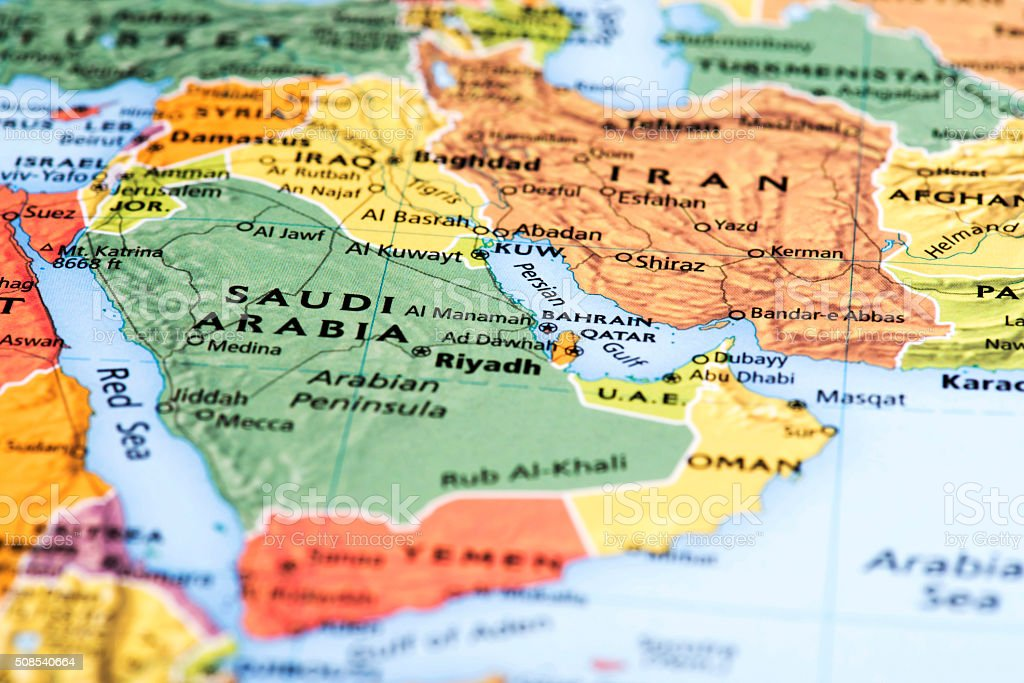 Map of Middle-Eastern Countries stock photo